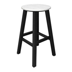POLYWOOD® Contempo 30 in. Round Bar Stool - The POLYWOOD Contempo 30 in. Round Bar Stool is a smart and stylish way to complete your patio deck or outdoor space. Crafted from 90% recycled materials this tasteful patio bar stool is a fun and functional addition to any space. The high-quality recycled plastic frame and durable polywood craftsmanship offer the look of real wood without the maintenance. The resilient polywood does not splinter crack chip peel or rot and it is resistant to corrosive substances insects fungi salt spray and other environmental stresses for a stool that will adorn your home with style for years to come. For added longevity cleaning is as easy as soap and water and the easy-to-clean material looks good as new. Choose from a variety of frame finishes for the chair that best complements your patio deck garden or outdoor space. Please note: This item is not intended for commercial use. Warranty applies to residential use only. About Poly-WoodUsing our unique plastic lumber making and furniture fabricating technologies. The advantages of Poly-Wood Recycled Plastic are hard to ignore. Poly-Wood absorbs no moisture and will NOT rot warp crack splinter or support bacterial growth. Poly-Wood is also compounded with permanent UV-stabilized colors which eliminates the need for painting staining waterproofing stripping and resurfacing. This material is impervious to many substances including salt water gasoline paint stains and mineral spirits. In addition every Poly-Wood product comes with stainless steel hardware. Poly-Wood is extremely easy to clean and maintain. Simple soap and water is all you need to get rid of dirt and make your furniture look new again. For extreme cleaning needs you can use a 1/3 bleach and water solution. Most Poly-Wood furnishings are available in a variety of classic colors which allow you to choose your favorite or coordinate with the furniture you already have. This is sure to be a piece that you will be proud to own for a lifetime.