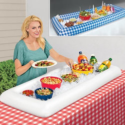 Portable Salad Bars - This portable salad bar just needs inflating and a few bags of ice and you have enough room to hold multiple bowls and containers. What a brilliant idea!