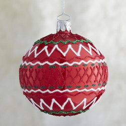 Red Ric-Rac Ball Ornament - A stylized, glittering take on ric-rac ribbon combines zigzags and cross-hatching in our artisanal modern glass ornament group. Each is handcrafted, hand-painted and decorated by German craftsmen in a classic holiday palette of green, white and red.