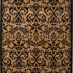 """Orian - Orian Four Seasons Sylvain (Black) 5'3"""" x 7'6"""" Rug - The indoor/outdoor Four Seasons collection is a jute-free construction woven with 2-ply frieze and soft fiber yarn creating beautiful, weather-resistant rugs that combine the benefits of outdoor functionality with the style or indoor fashion. The transitional designs are perfect for a casual lifestyle and offered at an exceptional value."""