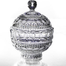 Fifth Avenue Crystal - Fifth Avenue Crystal Princeton Crystalline Candy Jar with Lid - Give your guests something to talk about with this attractive and elegantly styled candy jar. This crystalline jar includes an intricately styled lid.