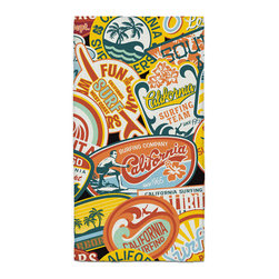 California Vintage Surf Stickers Hand Towel - Hand Towels are made of a super soft poly fiber fabric with 2mm pile.