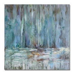 Grace Feyock - Grace Feyock Blue Waterfall Contemporary Wall Art X-04223 - This textured hand painted artwork, done in soothing pastels, is on canvas that has been stretched and attached to wooden stretching bars. Due to the handcrafted nature of this artwork, each piece may have subtle difference.