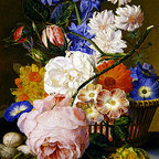Roses, Morning Glory, Narcissi, Aster in a Basket | Huysum | Canvas Print - Condition: Canvas Print - Unframed