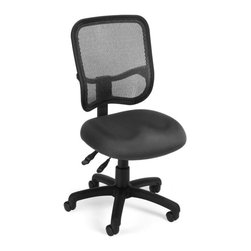 OFM - OFM Mesh Comfort Series Ergonomic Task Chair in Gray - OFM - Office Chairs - 130A01 - Get contemporary style and all-day comfort with OFM's Modern Mesh Ergonomic Task Chair 130. The back features built-in lumbar support and breathable mesh gives long-term comfort. Plus the mesh and seat fabric are it stain resistant so the chair keeps its