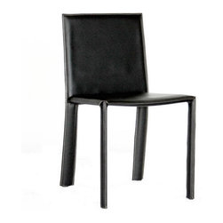 Baxton Studio - Baxton Studio Regal Black Leather Dining Chair - This dining chair set offers you a classy and comfortable place to sit in your dining area. The detail on these beautiful chairs is wonderful, including the contrasting stitching going down the legs of the chairs. Durable bonded leather upholstery for longer lasting use and stain resists for easy clean up. Chair constructed with sturdy steel frame lightly padded with high density foam for added comfort.