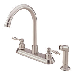 """Danze Sheridan™ Two Handle High-Rise Kitchen Faucet with Spray - - 1/2""""-14NPS connection."""