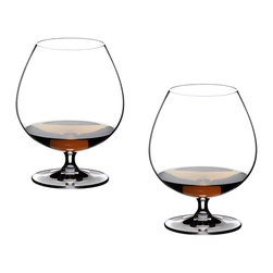 Riedel - Riedel Vinum Brandy Glasses - Set of 2 - These Riedel Cognac/Brandy snifters are made of 24-percent lead crystal. The bulbous balloon-style bowl on each glass is specifically shaped for drinkers to cup the bottom and warm the brandy or cognac with one hand. Coupled with the narrower rim on the glass, the bowl is also designed to waft the liquor's aroma to the nose with each sip. These glasses come in a set of 2.