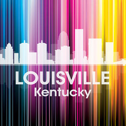 Louisville KY Vertical-Lined Rainbow Print - Home to the annual Kentucky Derby, the city of Louisville shines bright in a rainbow of color. Use it to show off a little city pride with the digital and photographic layers on this mixed-media art.