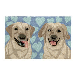 "Trans-Ocean Inc - Puppy Love Blue 30"" x 48"" Indoor/Outdoor Rug - Richly blended colors add vitality and sophistication to playful novelty designs. Lightweight loosely tufted Indoor Outdoor rugs made of synthetic materials in China and UV stabilized to resist fading. These whimsical rugs are sure to liven up any indoor or outdoor space, and their easy care and durability make them ideal for kitchens, bathrooms, and porches; Primary color: Blue;"