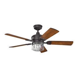 """Kichler - Kichler 300120DBK Lyndon 52"""" Ceiling Fan 5 Blades - Remote, Light Kit, 4. - Kichler 300120 Lyndon Ceiling Fan"""