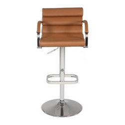 Chintaly Danielle Pneumatic Gas Lift Swivel Height Bar Stool - A modern classic, the Chintaly Danielle Pneumatic Gas Lift Swivel Height Bar Stool will bring you and your guests comfort for many years. The horizontal rolled seat and back cushion are stitched and crafted with care from brown bonded leather. The contemporary arms also have brown bonded leather accents. The durable steel frame and foot rest are finished in elegant chrome. You'll enjoy the smooth swivel action and the versatility of the height adjustment.About Chintaly ImportsBased in Farmingdale, New York, Chintaly Imports has been supplying the furniture industry with quality products since 1997. From its humble beginning with a small assortment of casual dining tables and chairs, Chintaly Imports has grown to become a full-range supplier of curios, computer desks, accent pieces, occasional table, barstools, pub sets, upholstery groups and bedroom sets. This assortment of products includes many high-styled contemporary and traditionally-styled items. Chintaly Imports takes pride in the fact that many of its products offer the innovative look, style, and quality which are offered with other suppliers at much higher prices. Currently, Chintaly Imports products appeal to a broad customer base which encompasses many single store operations along with numerous top 100 dealers. Chintaly Imports showrooms are located in High Point, North Carolina and Las Vegas, Nevada.