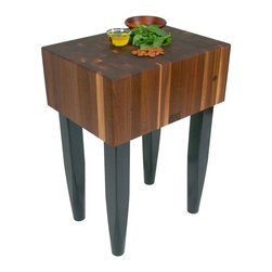 John Boos - Kitchen Block w Black Legs - Includes board cream with beeswax. Legs tapered at the bottom. End grain construction. Warranty: One year against manufacturing defects. Made from solid walnut. Walnut finish. Stand height: 34 in. H. 24 in. L x 18 in. W x 10 in. H (127 lbs.). Quick ship