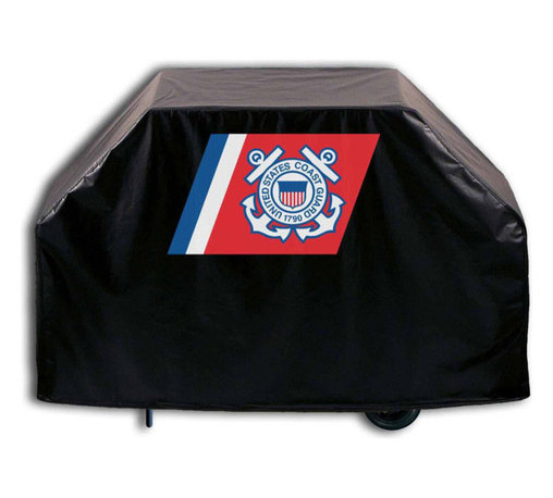 """Holland Bar Stool - Holland Bar Stool GC-CstGrd U.S. Coast Guard Grill Cover - GC-CstGrd U.S. Coast Guard Grill Cover belongs to Military Collection by Holland Bar Stool This U.S. Coast Guard grill cover by HBS is hand-made in the USA; using the finest commercial grade vinyl and utilizing a step-by-step screen print process to give you the most detailed logo possible. UV resistant inks are used to ensure exeptional durablilty to direct sun exposure. This product is Officially Licensed, so you can show your pride while protecting your grill from the elements of nature. Keep your grill protected and support your team with the help of Covers by HBS!"""" Grill Cover (1)"""