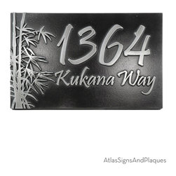 "Bamboo Address Plaque 12"" x 8"" in Pewter Finish - The Bamboo Address Plaque is a great choice for nature enthusiasts. The bamboo tree is perhaps the world's most recognizable and versatile tree; and not just because its the panda bear's favorite snack. Bamboo has been made into medicine, houses, furniture, paper, food, musical instruments, and transportation (among many others). Does the pine in your back yard boast that type of resume? Probably not. But that's alright because the Bamboo Address Plaque brings the forests of Asia to your home."