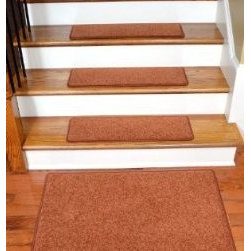 "Dean Flooring Company - Dean Carpet Stair Treads 27"" x 9"" Maple Leaf Plush (13) Plus 2' x 3' Mat - Dean Carpet Stair Treads 27"" x 9"" Maple Leaf Plush (13) Plus 2' x 3' Mat : Quality, Stylish Carpet Stair Treads by Dean Flooring Company. Extend the life of your high traffic hardwood stairs. Reduce slips/increase traction (treads must be properly secured to your stairs). Cut down on track-in dirt. Great for pets and pet owners (helps your dog easily navigate your slippery stairs. 100% Premium quality nylon. 35 ounce stain and spill resistant PLUSH carpeting. Dean signature rounded corners. Add a fresh new look to your staircase. Set includes 13 carpet stair treads PLUS one roll of double-sided carpet tape for easy, do-it-yourself installation and a matching 2' x 3' landing mat. Each tread is finished on the edges with color matching yarn. No bulky fastening strips. You may remove your treads for cleaning and re-attach them when you are done. Add a touch of warmth and style to your stairs today with new stair treads from Dean Flooring Company!"