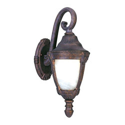 Maxim Lighting - Maxim Wakefield Cast 1-Light Outdoor Wall Lantern Bronze - 4033MREB - Wakefield Cast is a traditional, Mediterranean style collection from Maxim Lighting Interior in two finishes, Pewter or Empire Bronze, with Marble glass.