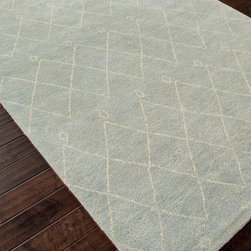 Nostalgia Light Fog & Antique White  Rug - 8' x 10' - Delicate lines, classic patterns, and a soft and simple palette make the Nostalgia Hand-Knotted Rug a superb piece for bringing in the trend for Moroccan and North African traditions in your d�cor without cluttering your color scheme. In a restrained Light Fog and Antique White color palette, this interesting floor rug makes its graphic diamond motifs feel subtle as well as geometric.