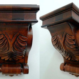 "O'Neil Chocolate Corbel with Acanthus Design - O'NEIL CHOCOLATE, CORBEL W/BIG CIDER ACANTHUS DESIGN, 5 1/2""W X 9""H,"