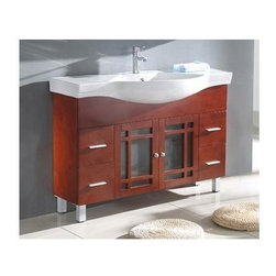 Legion Furniture - 48 in. Solid Wood Vanity Cabinet in Cherry Brown Finish - Faucet not included. Measurement tolerance: (+/- 0.25 in.). Pre-drilled with one hole one slot faucet. White ceramic top and sink. Two frosted glass door panels. Sleek chrome finish hardware. Made from wood. Assembly required. 48 in. W x 19.3 in. D x 34 in. HThis single sink bathroom vanity is constructed of solid hardwood with an antiqued cherry finish and a oversized white ceramic sink. This modern bathroom vanity has all elegantly simple design detail that you will not be disappointed.