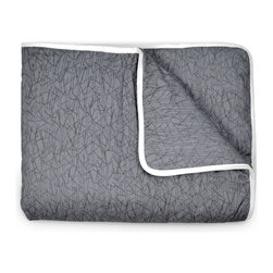 OLLI+LIME - TWIG CRIB QUILT - CHARCOAL - Soft cotton crib quilt in nature-inspired charcoal Twig design. Contrasting piping and logo detail. Polyfill insert.