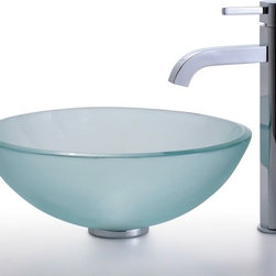 Kraus - Frosted Glass Vessel Sink and Ramus Faucet (Chrome) - Finish: Chrome