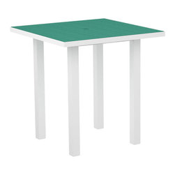 """PolyWood - Euro 36"""" Square Counter Height Table, White/Aruba - The Euro 36"""" Square Counter Height Table by Polywood�� puts a modern twist on traditional outdoor dining tables. The tall, clean design is sure to enhance your outdoor area and provide a comfortable and welcoming space for entertaining or relaxing. No painting, weather proofing or staining is needed for this durable all weather material."""