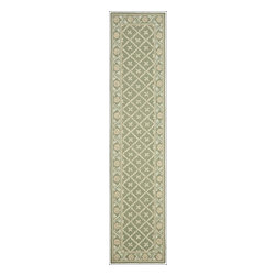 """Safavieh - Wilton Hand Hooked Rug, Green / Ivory 2'3"""" X 10' - Construction Method: Hand Hooked. Country of Origin: China. Care Instructions: Vacuum Regularly To Prevent Dust And Crumbs From Settling Into The Roots Of The Fibers. Avoid Direct And Continuous Exposure To Sunlight. Use Rug Protectors Under The Legs Of Heavy Furniture To Avoid Flattening Piles. Do Not Pull Loose Ends; Clip Them With Scissors To Remove. Turn Carpet Occasionally To Equalize Wear. Remove Spills Immediately. Wilton collection, a line of coordinated rugs and broadloom that re-creates classic Wilton patterns in a proprietary hand-hooked construction."""