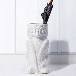 Owl Umbrella Stand - Who wouldnt love this adorable owl umbrella holder? It can also be used for holding rolls of craft paper, floor plans and more. Or it can be used as a large vase filled with palm fronds.