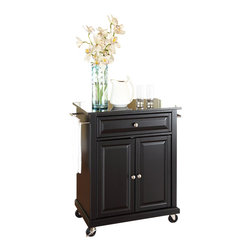 Crosley Furniture - Crosley Furniture Solid Black Granite Top Kitchen Cart in Black - Crosley Furniture - Kitchen Carts - KF30024EBK - Constructed of solid hardwood and wood veneers this portable kitchen cart is designed for longevity. The beautiful raised panel doors and drawer front provide the ultimate in style to dress up your kitchen. The deep drawer is great for anything from utensils to storage containers. Behind the two doors you will find an adjustable shelf and an abundance of storage space for things that you prefer to be out of sight. The heavy duty casters provide the ultimate in mobility. When the cabinet is where you want it simply engage the locking casters to prevent movement. Style function and quality make this portable kitchen cart a wise addition to your home.