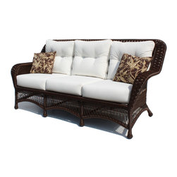 Wicker Paradise - Princeton Wicker Sofa - Brown - Lazy summer afternoons are a lot more relaxing when you have a sofa like this one. The classic lines and chocolate brown color give this sofa a contemporary charm that works in a historic home or a modern-day cottage. It is made of resin wicker and built on an aluminum frame for total outdoor use. The Princeton sofa comes with bottom and back cushions in Sunbrella Canvas Natural fabric. Throw pillows are not included.