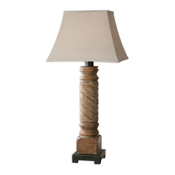 Carolyn Kinder - Carolyn Kinder Villaurbana Light Wood Table Lamp X-1-37462 - Light wood tone finish with a gray glaze and a rustic bronze foot. The rectangle bell shade is oatmeal linen, weather resistant fabric. For indoor/outdoor use.