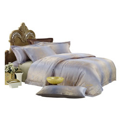 Dolce Mela - Jacquard Luxury Linens Duvet Covet Set Dolce Mela DM449, King - Goldfish jacquard motifs and calming earth tones complete the opulent presentation of a luxurious bedroom setting.