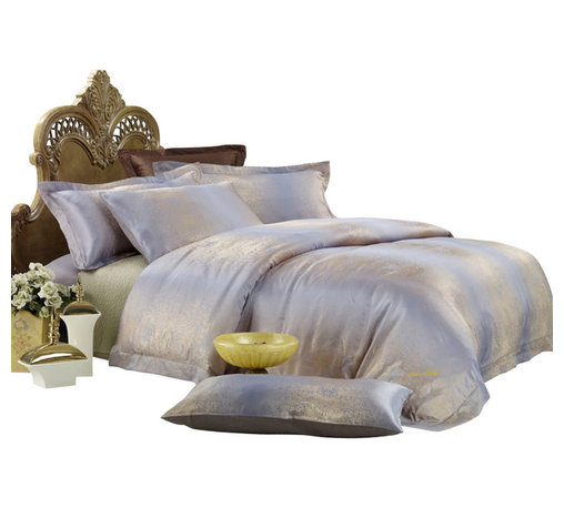 Dolce Mela - Jacquard Luxury Linens Duvet Covet Set Dolce Mela DM449, King - Goldfish jacquard motifs and calming earth tones complete the opulent presentation of a luxurious bedroom setting.
