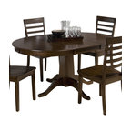 Jofran - Jofran 342-60 Taylor Cherry Round to Oval Pedestal Dining Table - Combining traditional details with modern designs, Jofran has a collection to compliment any home decor. This Taylor cherry 42X42 round to oval pedestal table belongs to 342 series - Taylor cherry collection by Jofran inc. The classic formulas of color combinations are not valid in Jofran furniture territory: here is ruled by laws solely of your own preferences and fantasies. Huge selection of colors in combination with a wide choice of shapes and sizes allow you to find among this variety precisely the furniture you've always wanted to see in your home. Jofran furniture offers high quality, casual furniture pieces that are constructed from premium Asian hardwoods, and finished with beautiful veneers. Durable materials and quality assembly will help your furniture to serve for many years and will not let you be disappointed in your choice.