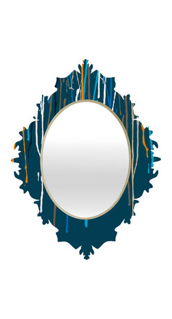 DENY Designs - Geronimo Studio Blue Drips Baroque Mirror - As we like to say around here, if it ain't baroque, don't hang it! With a sleek mix of baltic birch ply trim that's unique to each piece and a glossy aluminum frame, the baroque mirrors collection bumps your stylish reflection up a notch. Custom made in the USA for every order.