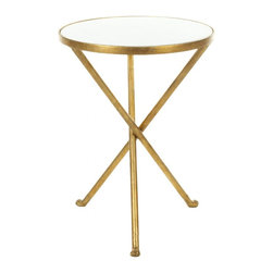 Safavieh - Marcie Accent Table - The diminutive Marcie accent table is functional and decorative beside a chair, with round white marble top set in an iron tripod base that's finished with an elegant burnished brass patina.