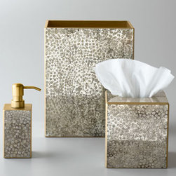 "Waylande Gregory - Waylande Gregory ""Mosaic Metallic"" Soap Dish - Mosaic, metallic finished vanity accessories add chic sparkle to the bath. Crafted in Peru of wood composite and reverse-painted glass. Pump dispenser, approximately 3""Sq. x 5""T. Tissue box cover, approximately 5.5""Sq. x 6""T. Wastebasket, approximat..."
