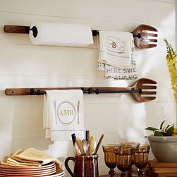 "Cuisine Wall-Mount Wood Fork with Metal Towel Bars - With its unexpected yet practical design inspired by the ordinary salad fork, our organizer keeps kitchen towels and paper towels off the counter and easily accessible. 36.5"" wide x 5"" deep x 3.5"" high Made of mango wood. Two iron bars. Sold individually. Catalog / Internet Only."
