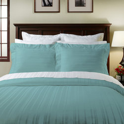 None - 510 Thread Count 3-piece Duvet Cover Set - A luxurious sateen construction makes the lavish Pointehaven duvet set a cozy place to rest. Crafted with 510 thread count pima cotton,this comfortable duvet cover and sham set features a striped design. Matching Euro shams are available separately.