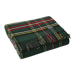 Faribault Woolen Mill - Royal Carefree Stewart Wool Throw - Green - The Stewart Plaid is a Faribault classic. Now offered in 100% Merino wool for a finer hand, the throw is as soft as its colors are vibrant. Displayed on the couch or kept in the car for summer picnics, this machine wash and dryable throw has endless possibilities. The design is simply timeless.
