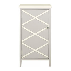 Safavieh - Mary Cabinet - Crisp color and charming simplicity give the Mary small cabinet a fashion edge. Crafted of grey finished poplar with interior shelves, Mary makes storage a breeze in the bath, next to the bed or wherever a place to contain clutter is needed. Contrasting top and x-details on the front, lend the right touch of visual interest.