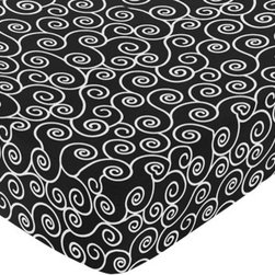 Sweet Jojo Designs - Madison Scroll Print Crib & Toddler Sheet - The Madison fitted crib sheet will help complete the look of your Sweet Jojo Designs nursery. This black and white scroll print cotton sheet fits all standard crib and toddler mattresses and is machine washable for easy care.