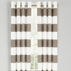 Nautica - Nautica Cabana Stripe Drape Set - Taupe Multicolor - 200659 - Shop for Curtains and Drapes from Hayneedle.com! Every day is a day at the beach with the Nautica Cabana Stripe Drape Set - Taupe. The 84-inch long woven slub duck cloth drapes will cascade your windows and flow in the breeze on a warm day. This set comes complete with two drapes and matte silver grommets to ensure sturdiness.About NauticaNautica offers quality design and value while capturing the essence of an active adventurous and spirited lifestyle. Nautica took its name from the Latin word Nauticus for ship. Since one of mankind's first accomplishments in exploring the world was to take to the seas a spinnaker logo was designed as a symbol of adventure action and classicism.Founded in 1983 Nautica has evolved from a collection of men's outerwear to a leading global lifestyle brand with products ranging from men's women's and children's apparel and accessories to a complete home collection. Now part of VF Corporation a leader in branded quality apparel Nautica has become one of the most important American lifestyle brands throughout the world.