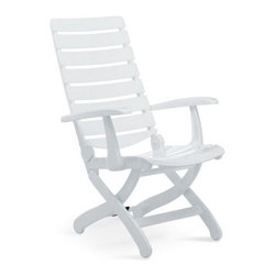 "KETTLER Tiffany 16 Position High Back Chair- White - Spend warm summer days enjoying the poolside views with the Kettler Tiffany High-Back Chair. This deluxe folding chair is crafted from K2 massive molding resin with a UV-resistant robotically applied lacquered finish. It offers 16 independently adjustable positions and a contoured extra-wide back and seat for maximum comfort. This durable chair folds for easy storage.About KettlerThroughout the world Kettler is a leading brand in leisure furniture sports and fitness equipment table tennis tables bicycles and children's outdoor toys. Since 1949 the company has grown from a small enterprise in Heinz Kettler's home town of Ense-Parsit in Germany into a worldwide manufacturing and marketing organization. Kettler sells in 60 countries and employs over 2 000 people. Heinz Kettler has always remained true to the ""Made in Germany"" quality principle which is still the central pillar of the company's management philosophy."