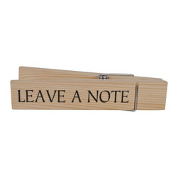 Enchante Accessories Inc - Home Office Collection Jumbo Decorative Wooden Message Clip, Leave A Note (Beige - Extra oversized decorative clothes pins are a stylized way to clip up your most important messages, to do lists and photos. Large and vintage, these clips are charming and very functional.