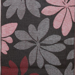 b.b.begonia - Area Rug/ Patio Mat- 4' x 6'-Essence-Reversible, Brown and Red for Outdoor Use - Stylised flowers in a typically eclectic brown and red color palette are scattered over a chocolate brown background. This reversible mat is a great solution for the sunroom, for the patio, for the deck, by the pool or in the yard.