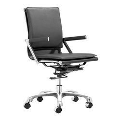 Zuo - Lider Pro Office Chair, Black - The Lider Office Collection is sleek, ergonomic and a great addition to any office space.  Take the workspace to the next level with the Lider Pro Office Chair, available in black or white.  Leatherette and chromed steel make this chair functional, durable and comfortable for everyday use.  Not only does this chair have a professional look, it offers excellent support with padded back and seat cushions.  The armrests offer a more structured look, leaving the home office or conference room with clean and polished lines.