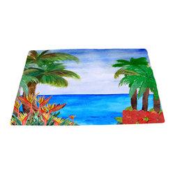 """xmarc - Beach Area Rugs, Caribbean Beach, 96""""W X 48""""Tall - Caribbean beach plush area rug from my art."""