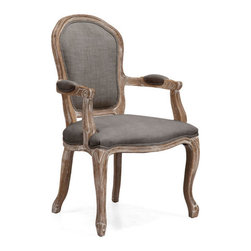 ZUO - Hyde Chair - Charcoal Gray - Faintly Versailles-inspired, the Hyde Chair is a symphony of linen and oak. Features a sweeping silhouette and chunky yet elegant carving. Perfect for any modern-day Marie Antoinettes you invite for tea.